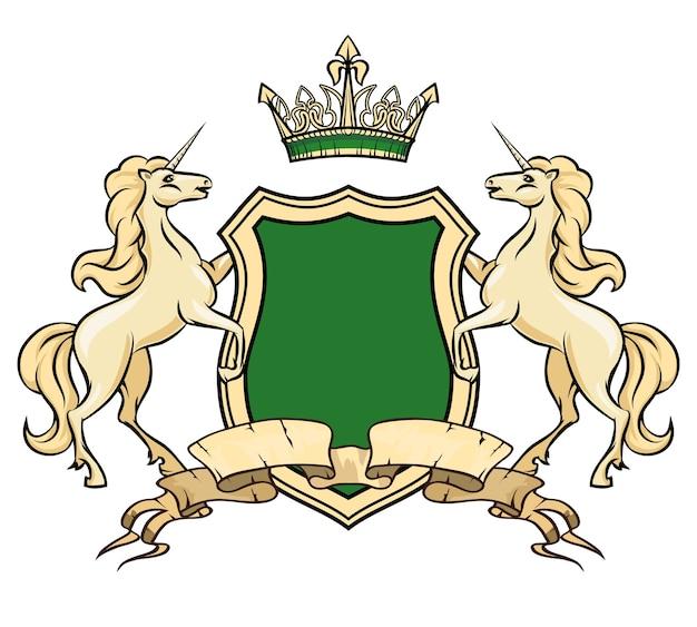 Шаблон логотипа герба. единороги со щитом и короной. королевский геральдический знак, знак отличия, богато украшенный логотип лошади