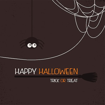 Cob web with spider and witches broom happy halloween