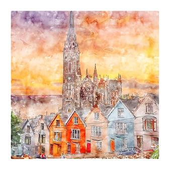Cobh 아일랜드 수채화 스케치 손으로 그린 그림
