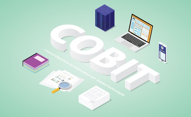Cobit control objectives for information and related technologies with modern isometric style