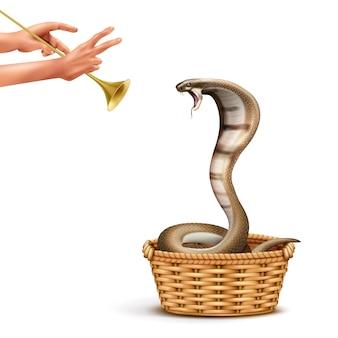 パイプとヘビのイラストを再生する人間の手の孤立した画像とコブラとヘビ使いのリアルな構図