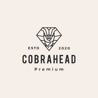 Cobra in diamond shape hipster vintage logo icon illustration