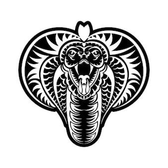코브라 얼굴 아이콘 검정 그림입니다. 스포츠 팀을 위한 킹 코브라가 있는 엠블럼. t-셔츠에 대 한 인쇄 디자인입니다.