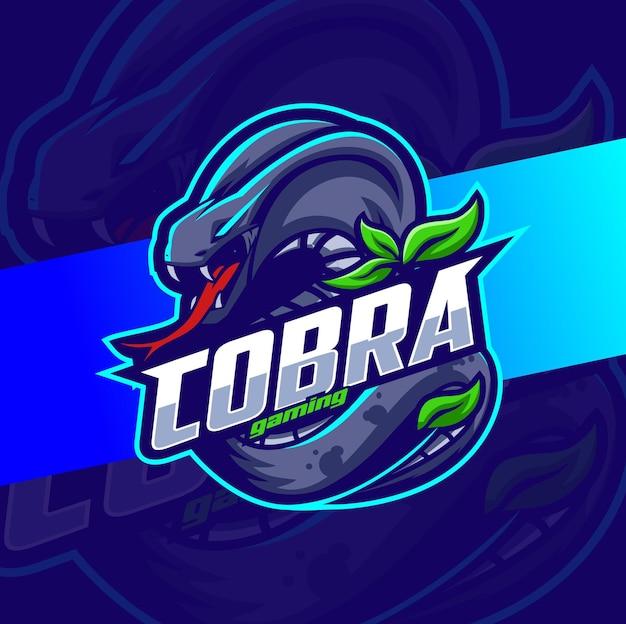 ゲームとeスポーツのロゴデザインのためのコブラヘビのマスコットキャラクター