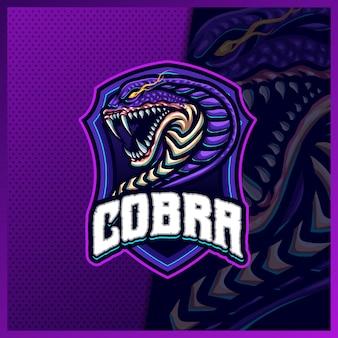 코브라 뱀 마스코트 esport 로고 디자인 일러스트 벡터 템플릿, 팀 게임 스트리머 유튜버 배너 트위치 불화, 풀 컬러 만화 스타일을 위한 바이퍼 독 로고