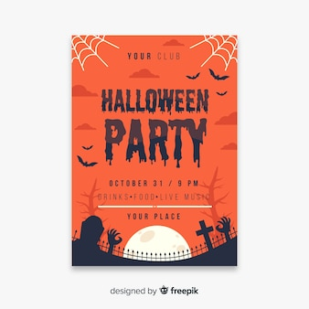 Cobweb and cemetery halloween party flyer template