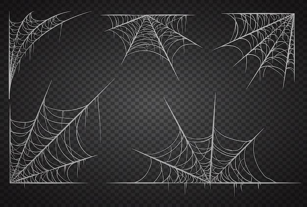 검은 투명 배경에 고립 된 거미줄 세트