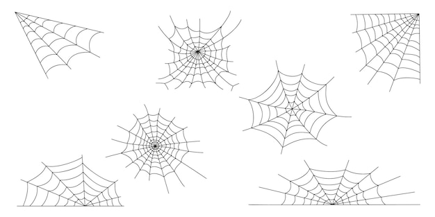 Cobweb set spider web textures elements for halloween party decoration