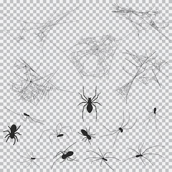 Cobweb and spider black silhouette set for halloween isolated