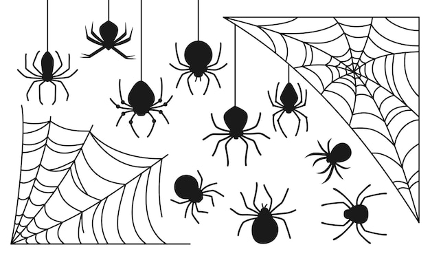 Cobweb and spider halloween black silhouette set spooky scary spiders web dangerous