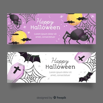 Cobweb and spiders watercolour halloween banners