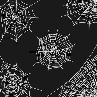 Паутина векторные иллюстрации для украшения хэллоуина белая паутина на углу на черном фоне