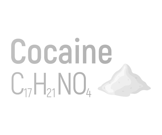 Cocaine concept chemical formula icon label, text font vector illustration, isolated on white. periodic element table, addictive drug stuff.