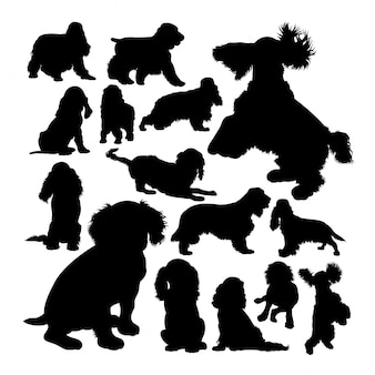 Cocker spaniel dog animal silhouettes