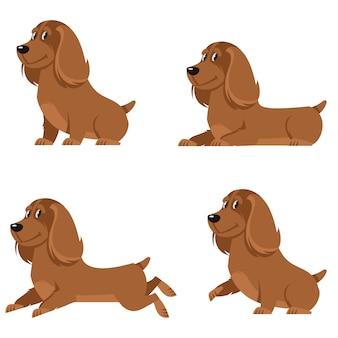 さまざまなポーズのコッカースパニエル。漫画のスタイルのかわいい犬。