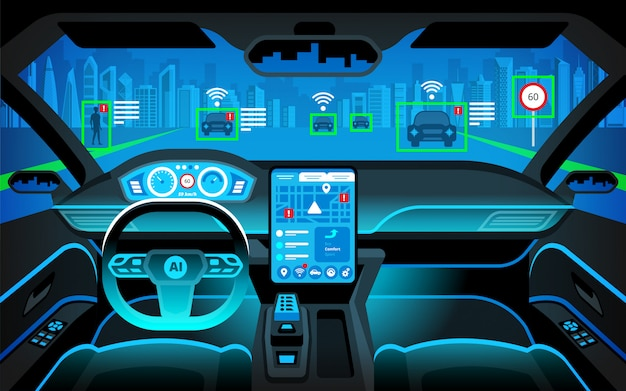Cockpit  autonomous car. self driving vehicle. artificial intelligence on the road. head up display(hud) and various information. vehicle interior.