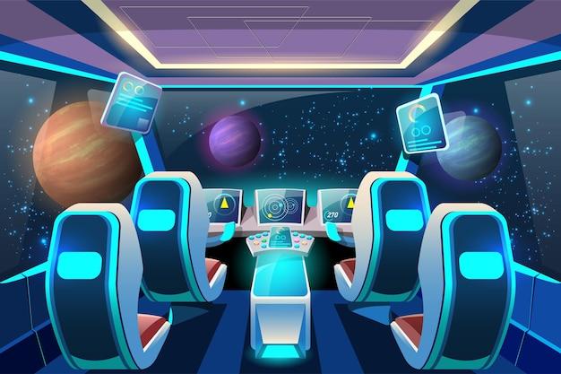 宇宙船の内部システムとその推進システムを制御するためのコックピット。