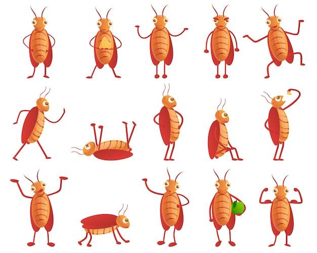 Cockroach set, cartoon style