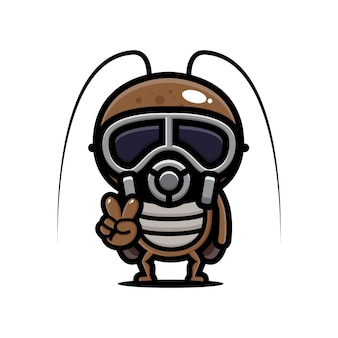 Таракан в маске Premium векторы