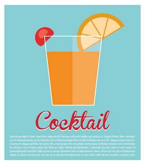 Cocktail alcohol lime cherry blue background