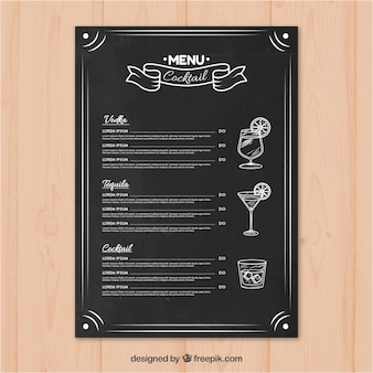 Cocktail bar menu in blackboard style