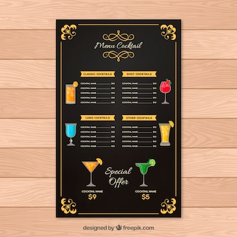 Cocktail bar menu in flat style