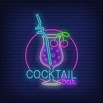 Cocktail bar neon text, drink with straw and cherries