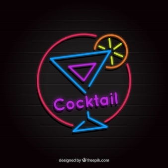 Cocktail bar sign with neon light style