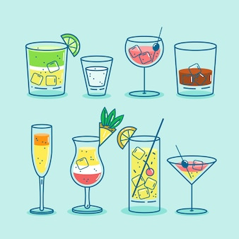 Cocktail collection in flat design