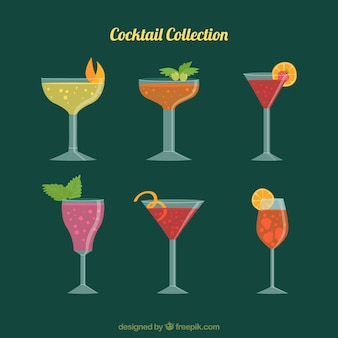 Cocktail collection with flat design