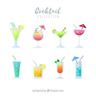 Коллекция коктейлей с плоским дизайном