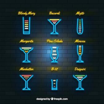 Collezione cocktail con stile luci al neon