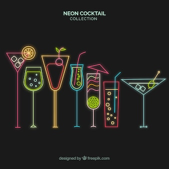 Cocktail collection with neon lights style