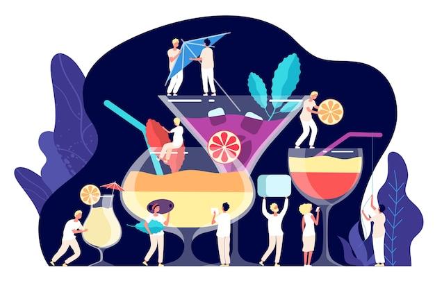 カクテルのコンセプト。小さな人々、バーテンダーはカクテル、トロピカルドリンクを作ります。トレンディなレストランの飲み物、飲酒時間のクリップアート。イラストカクテル熱帯夏、人々は飲み物を飲む