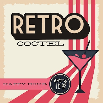 Cocktail cup drink in poster retro style vector illustration design