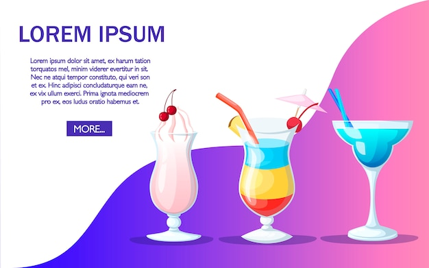Cocktail drink fruit juice in   style. website page and app design. place for text.  illustration on color background