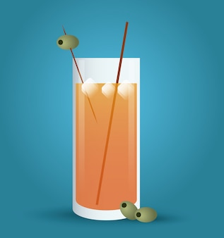 Cocktail drink icon in flat style, alcohol beverage. illustration