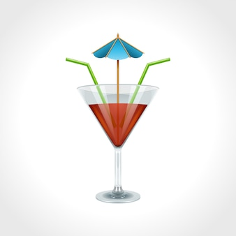 Cocktail and drink isolated on white vector illustration