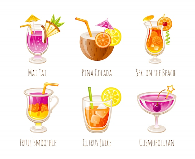 Коктейль для напитков. стеклянная иллюстрация с летним алкогольным барным меню. изолированный mai tai, pina colada, секс на пляже, смузи, апельсиновый сок, cosmopolitan