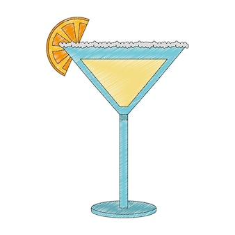 Cocktail drink with fruit isolated icon