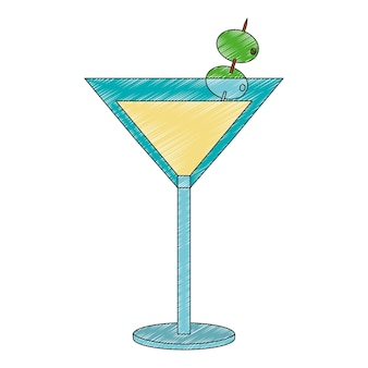 Cocktail drink with olive fruit isolated icon