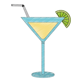 Cocktail drink with straw and fruit isolated icon