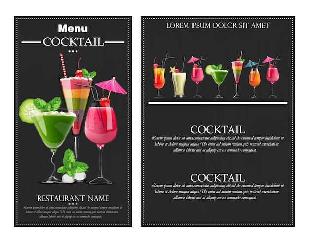 Cocktail drinks realistic banner flyer
