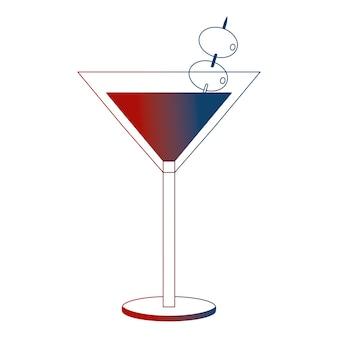 올리브와 칵테일 유리 음료 알코올