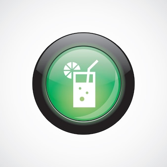 Cocktail glass sign icon green shiny button. ui website button