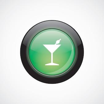 Бокал для коктейля подписывает зеленую блестящую кнопку значка. кнопка веб-сайта пользовательского интерфейса