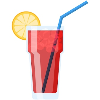 Cocktail in glass with straw ice and lemon decoration vector