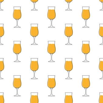 흰색 배경에 칵테일 잔 원활한 패턴입니다. 칵테일 음료 테마 벡터 일러스트 레이 션