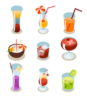 Cocktail icons isometric. glass and alcohol, liquid and juice, tropical fresh beverage.