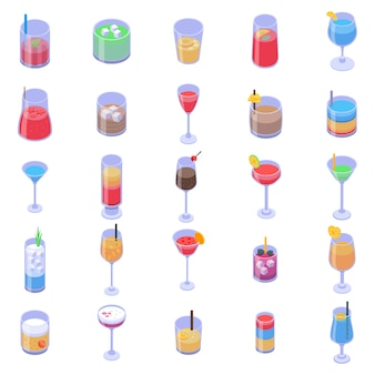 Cocktail icons set, isometric style